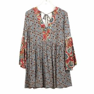 Umgee Boho Tunic Dress Bell Sleeve Floral Medium